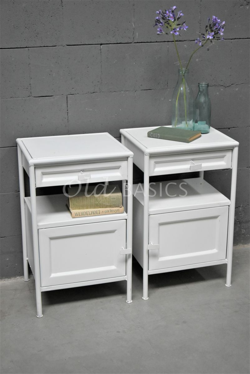 Set nachtkastjes DormirBlanc, wit, materiaal staal
