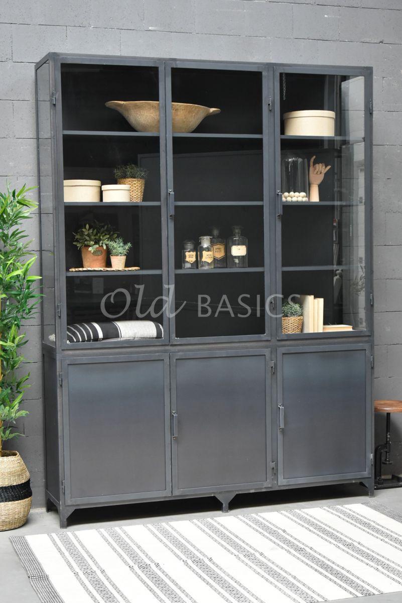 Apothekerskast Demi STEEL, 3 deuren, blauwstaal, materiaal staal
