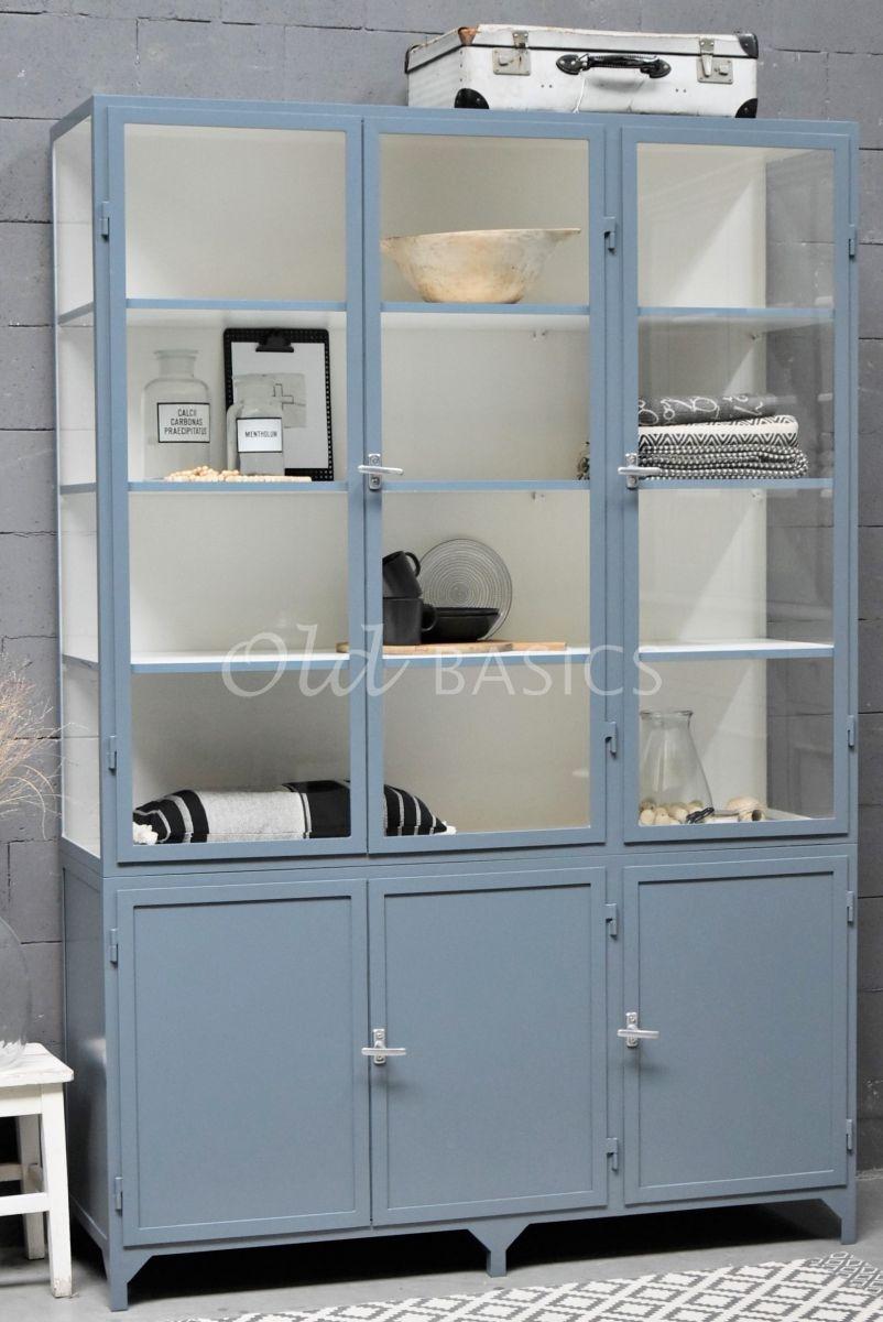 Apothekerskast Demi, 3 deuren, RAL7031, blauw, grijs, materiaal staal