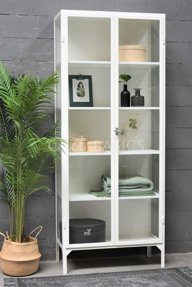 Apothekerskast Vitrine, 2 deuren, RAL9010, wit, materiaal staal
