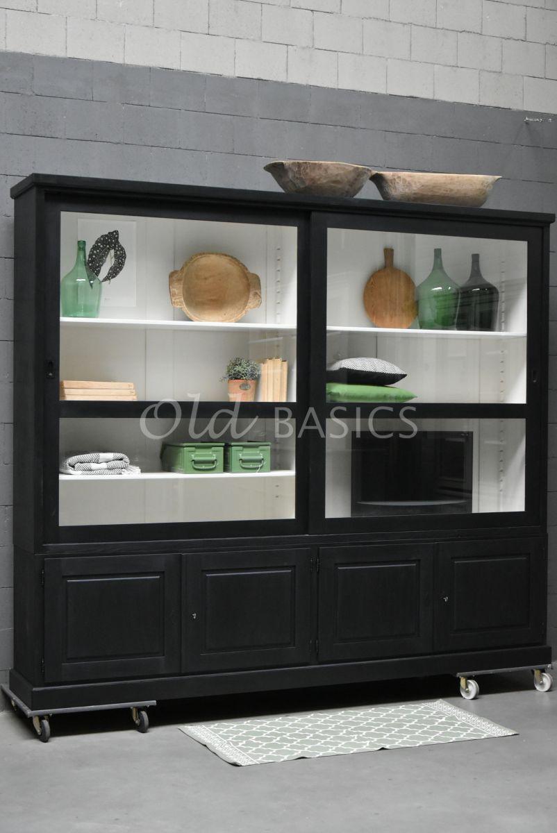 Vitrinekast Savana, zwart, materiaal hout