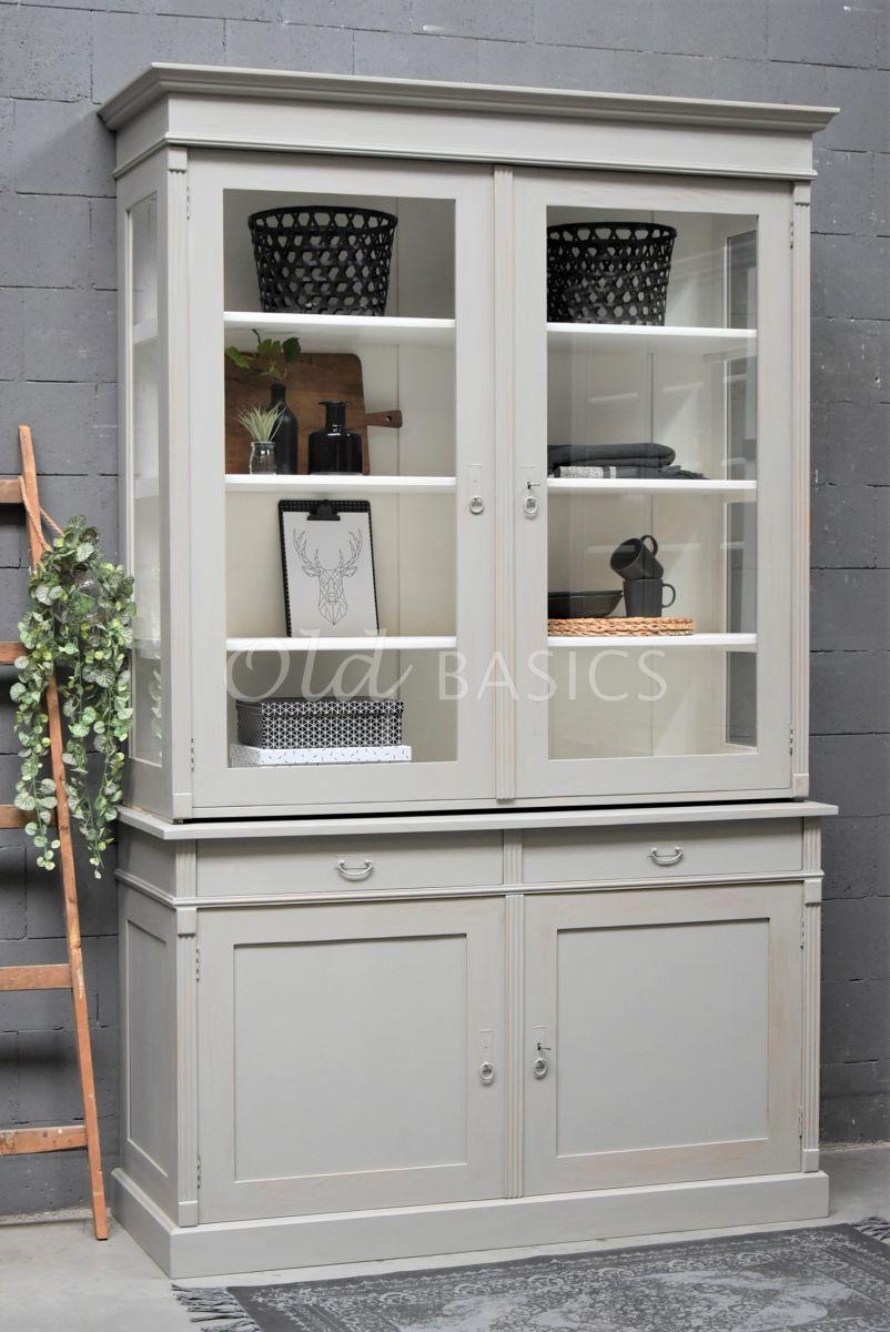 Servieskast, 2 deuren, RAL7030, grijs, materiaal hout