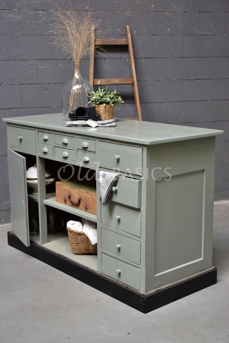 Toonbank, grijs, groen, materiaal hout
