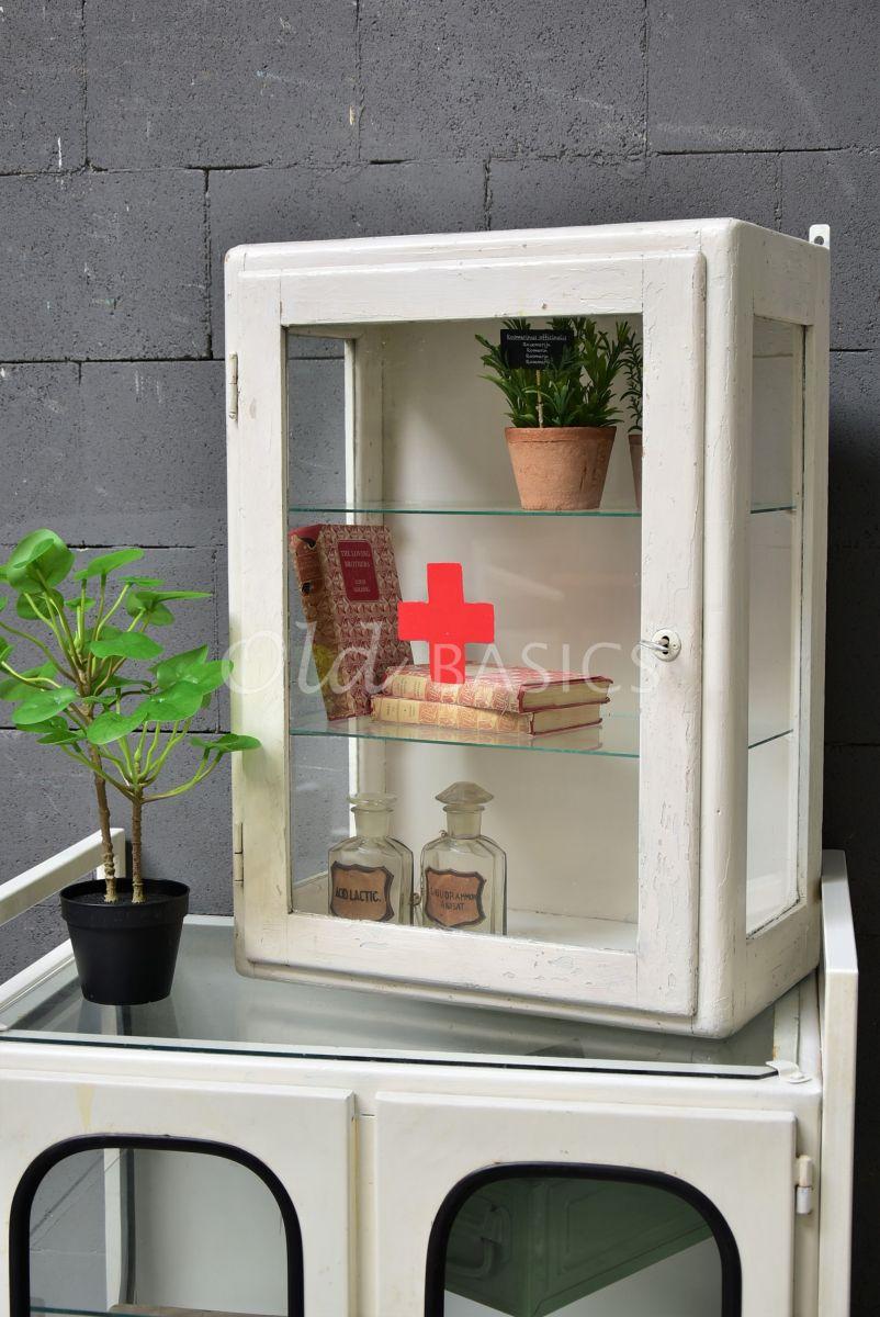 Hangkastje, wit, rood, materiaal hout