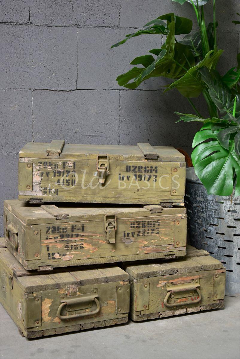 Legerkist, groen, materiaal hout