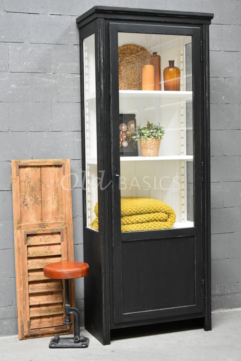 Vitrinekast Artistique, 1 deuren, RAL9005, zwart, materiaal hout