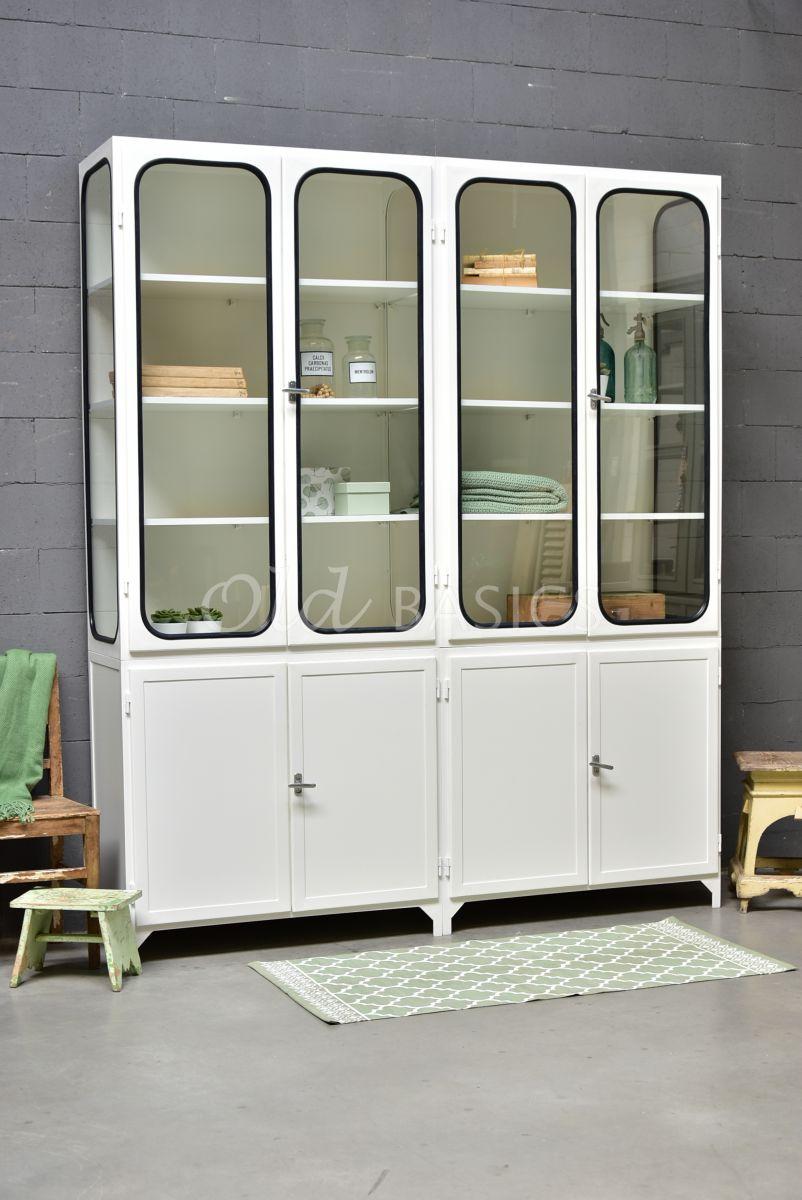 Apothekerskast Retrique, 4 deuren, RAL9010, wit, materiaal staal