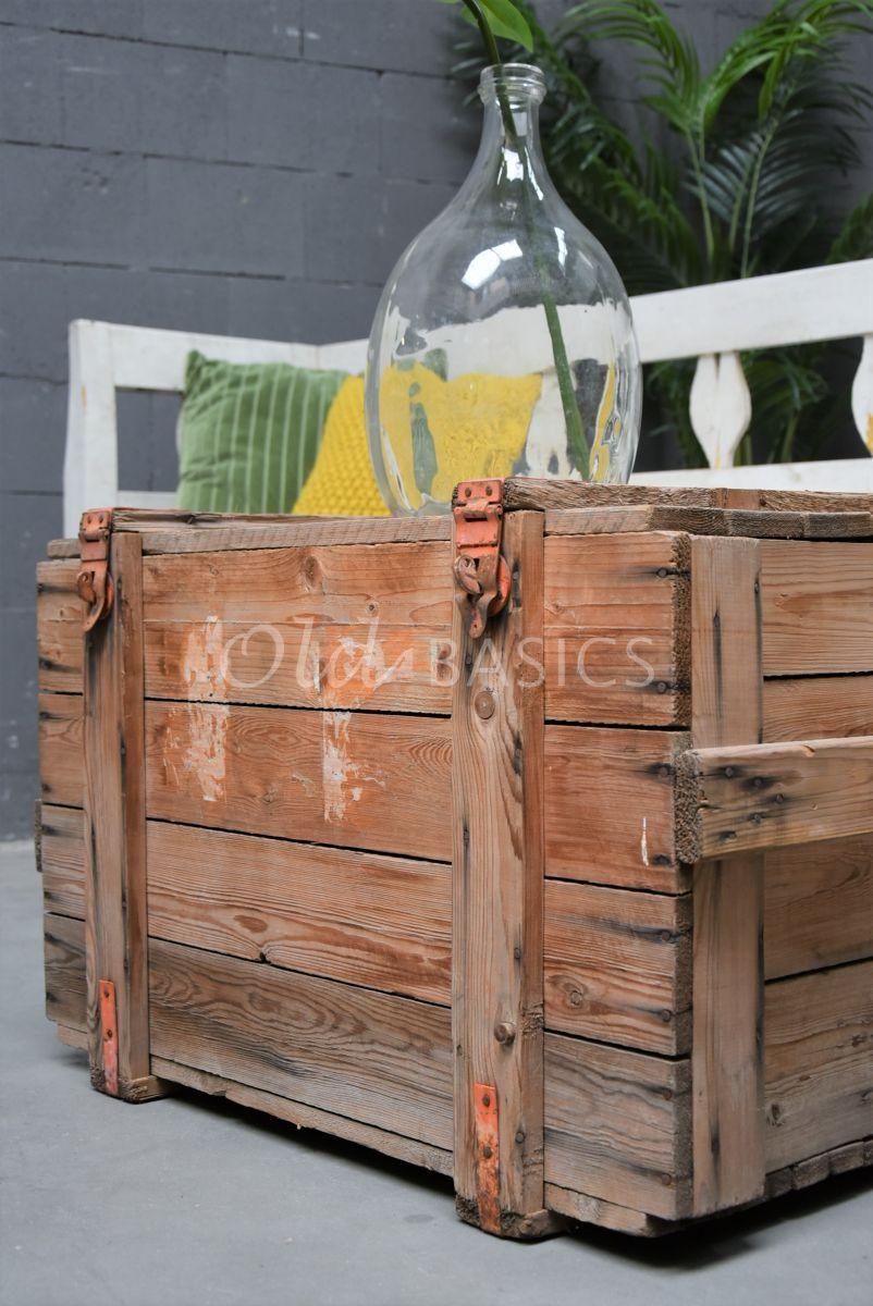 Detail van Houten kist, naturel, materiaal hout