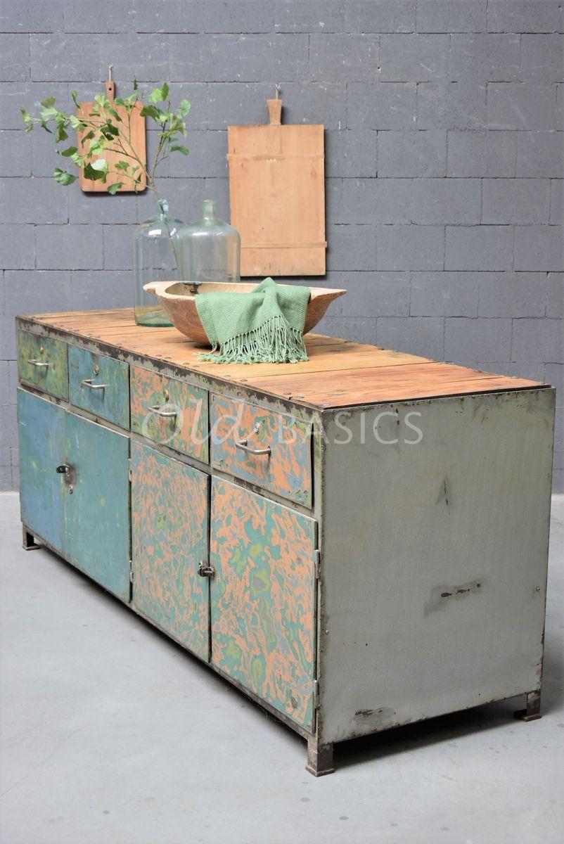 Dressoir, groen, blauw, materiaal staal