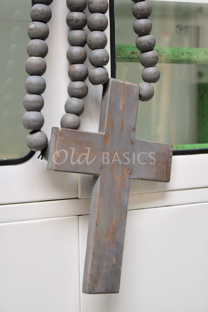 Ketting met kruis grijs, materiaal hout
