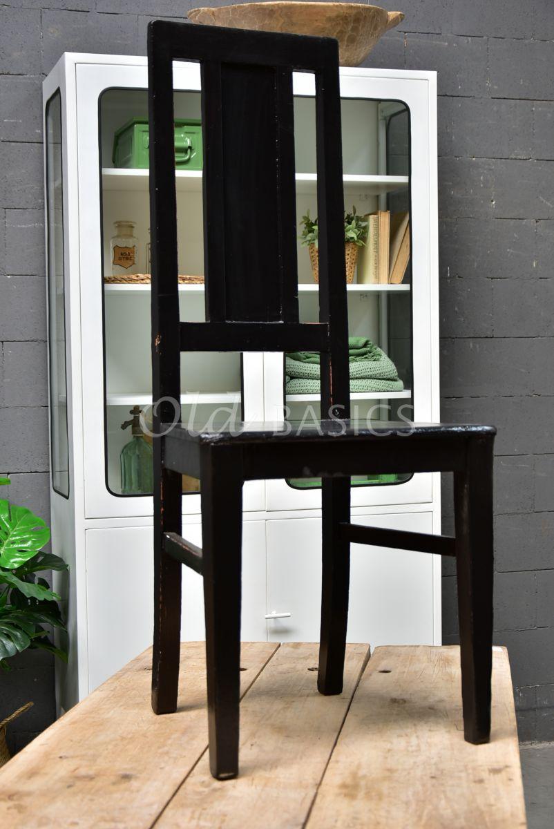 Detail van Houten stoel, zwart, materiaal hout
