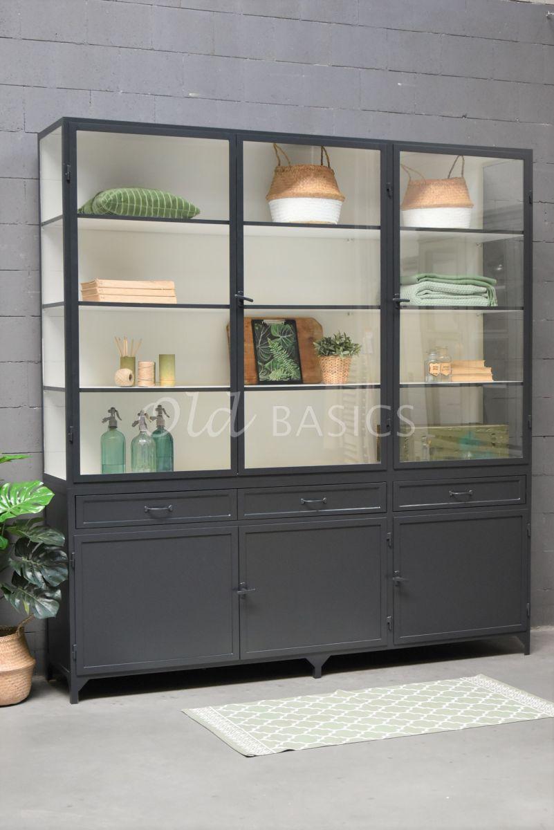Apothekerskast Ferro, 3 deuren, RAL7021, zwart, grijs, materiaal staal