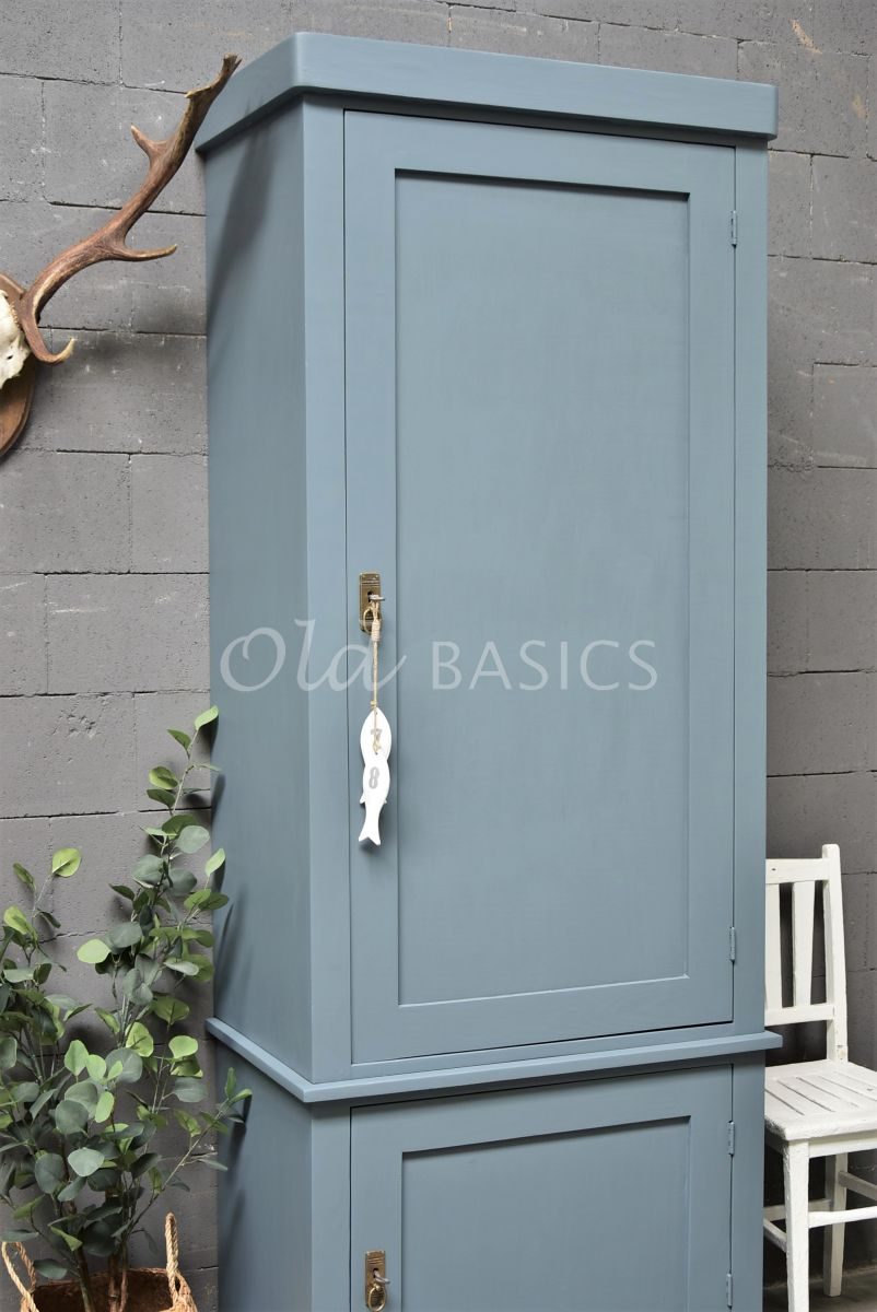 Detail van Kast Muret, 1 deuren, RAL7031, blauw, grijs, materiaal hout