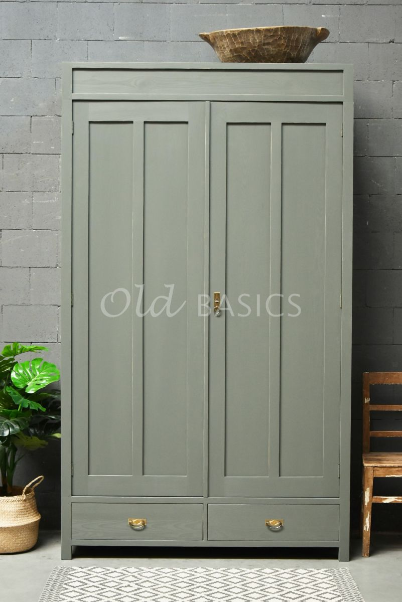 Linnenkast Plage, 2 deuren, RAL7009, groen, grijs, materiaal hout