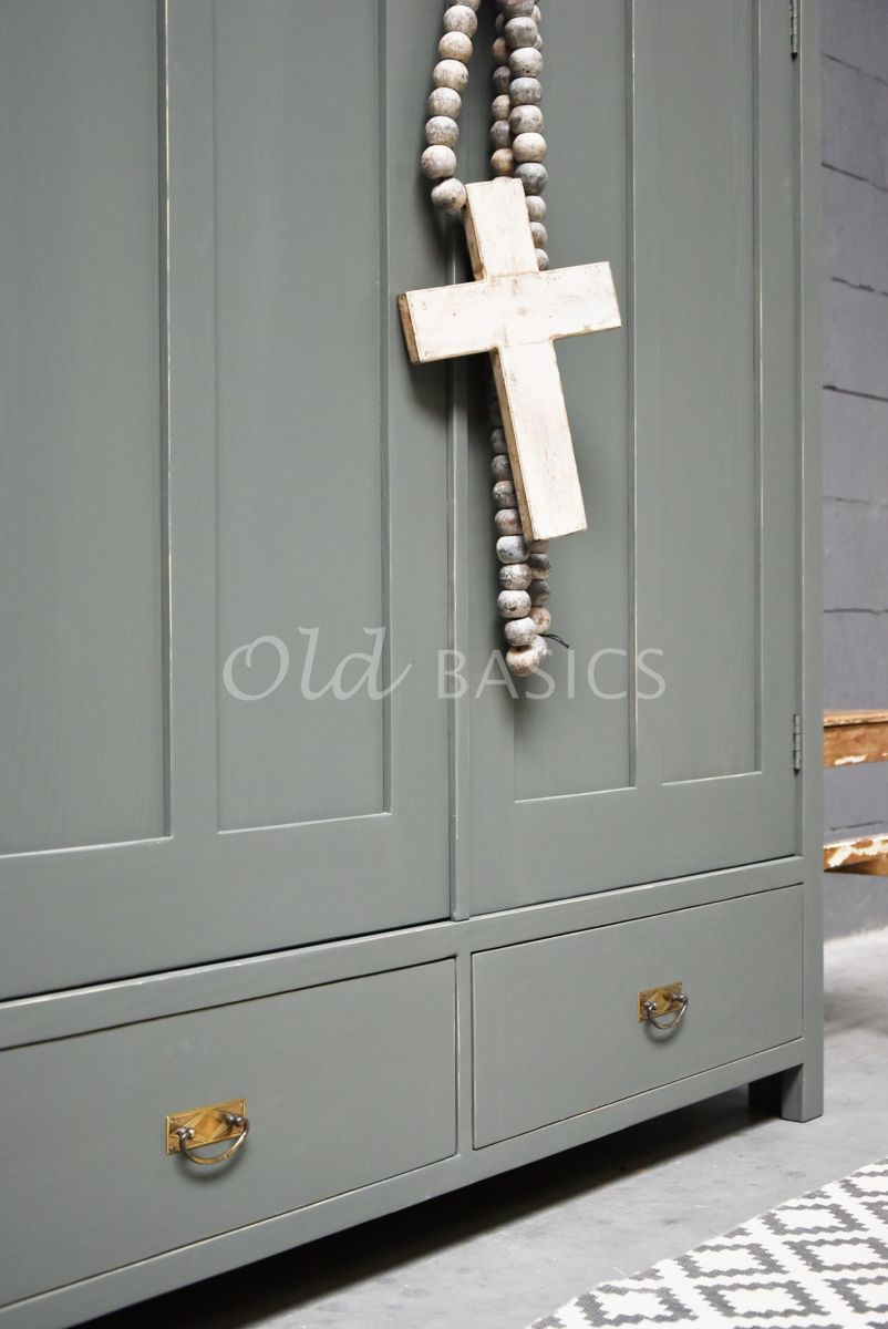 Detail van Linnenkast Plage, 2 deuren, RAL7009, groen, grijs, materiaal hout