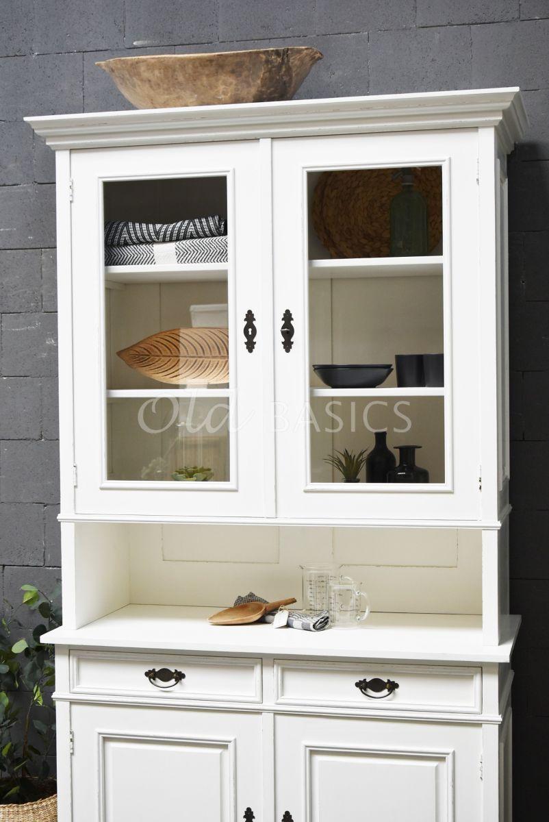Detail van Buffetkast Eveline, 2 deuren, RAL9010, wit, materiaal hout