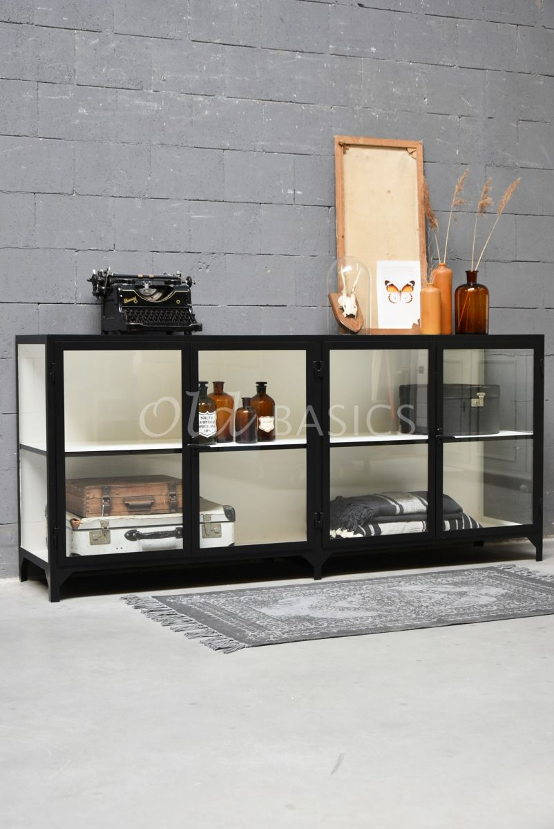 Dressoir Vitrine, 4 deuren, RAL9005, zwart, materiaal staal