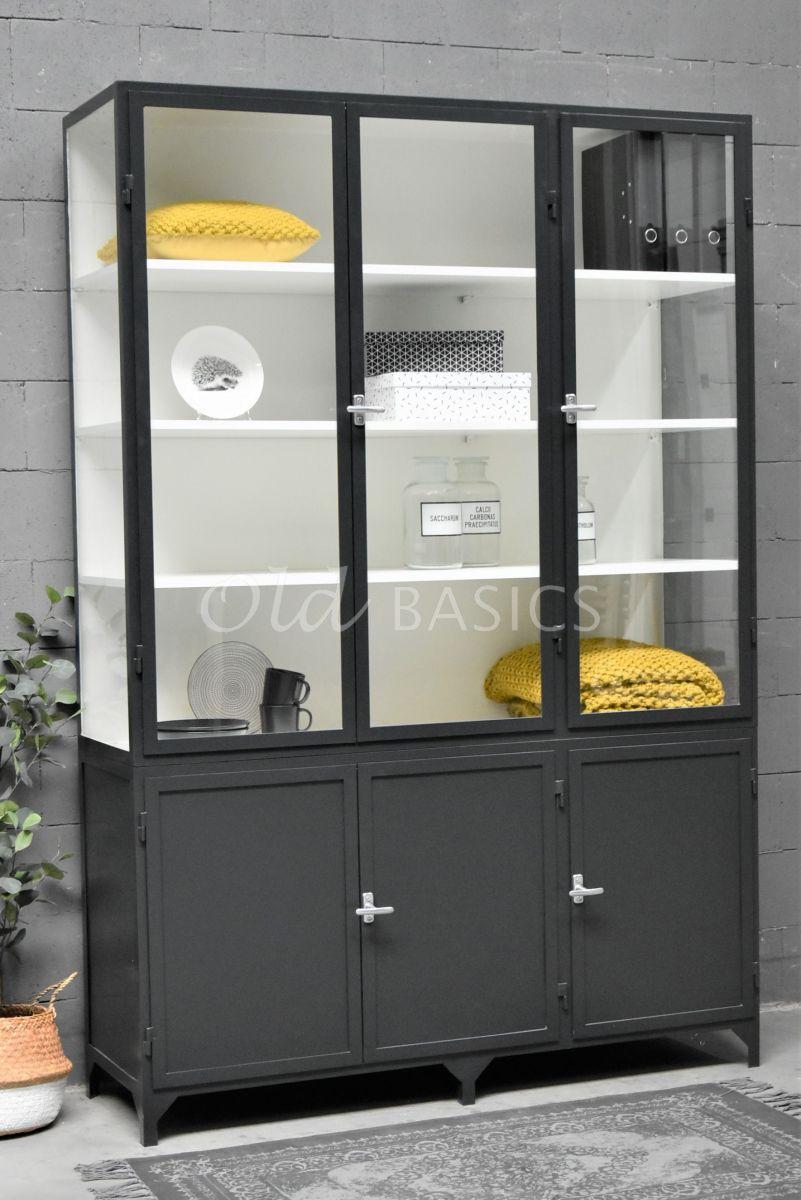 Apothekerskast Demi, 3 deuren, RAL7021, zwart, grijs, materiaal staal