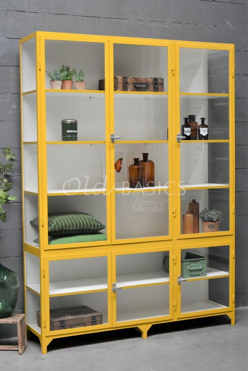 Apothekerskast Vitrine, 3 deuren, RAL1005, geel, materiaal staal
