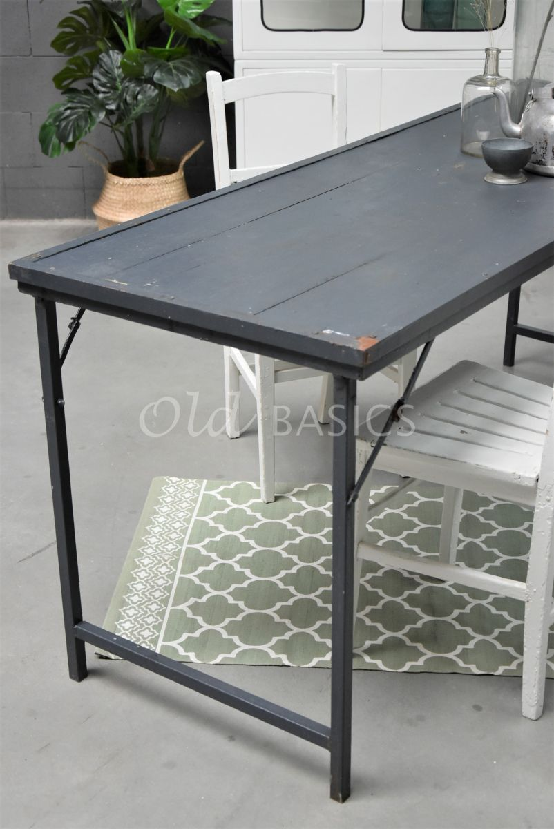 Detail van Bureau, grijs, materiaal staal