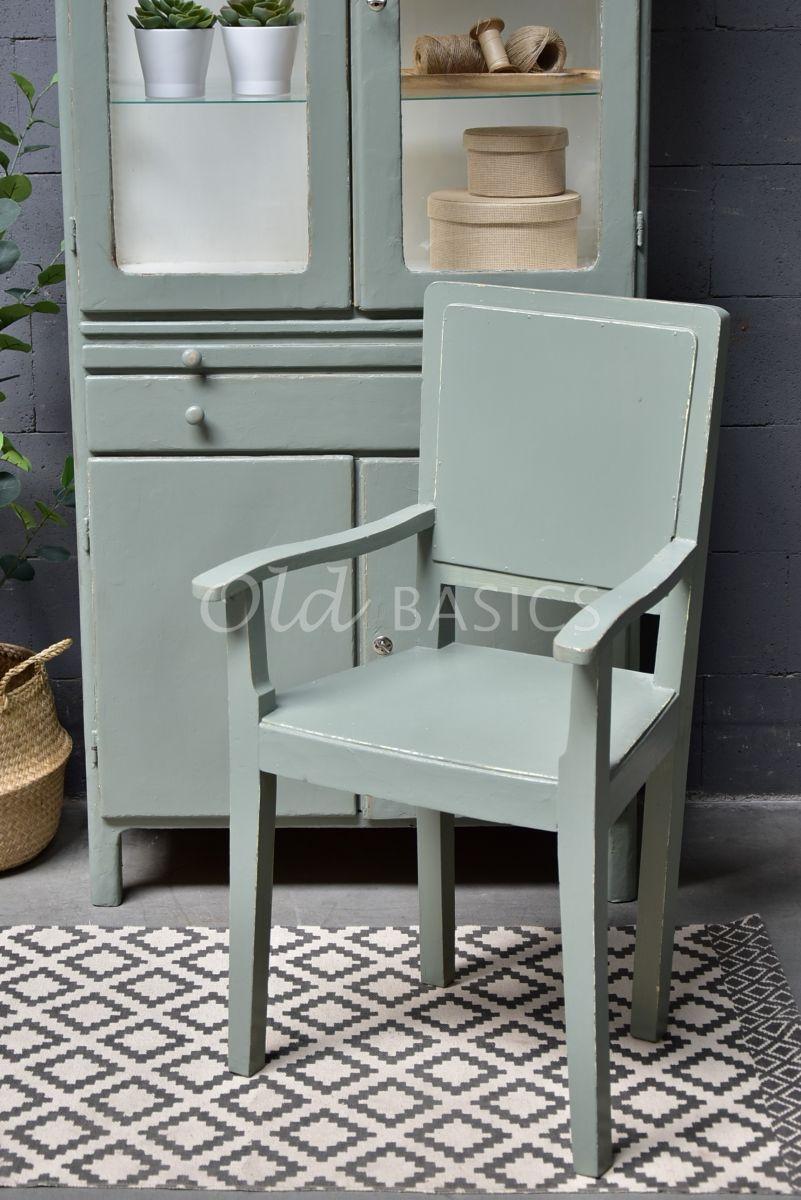 Houten stoel, groen, grijs, materiaal hout