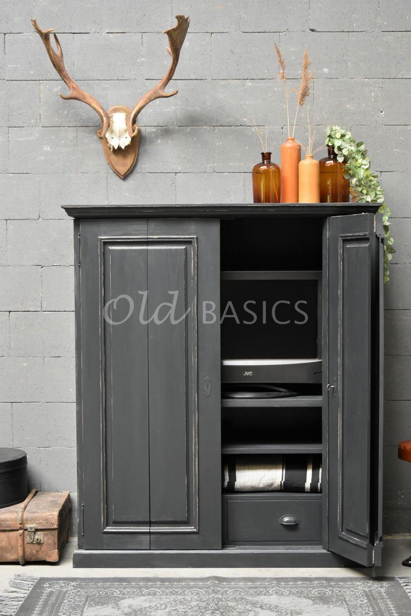 Detail van TVkast Gracieux, RAL2, grijs, zwart, materiaal hout