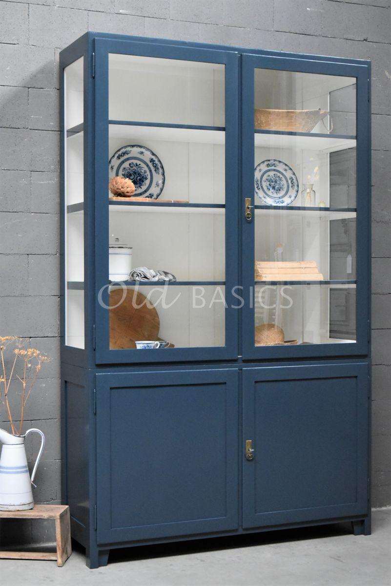 Vitrinekast Jeanette, 2 deuren, RAL5008, blauw, materiaal hout