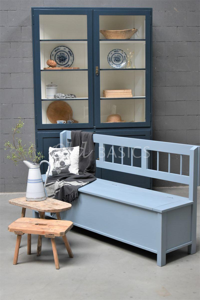Klepbank Lorraine, blauw, grijs, materiaal hout