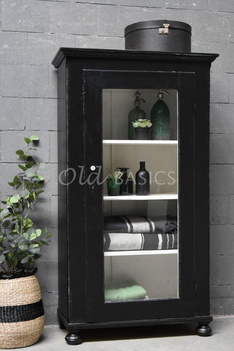 Vitrinekast, zwart, materiaal hout