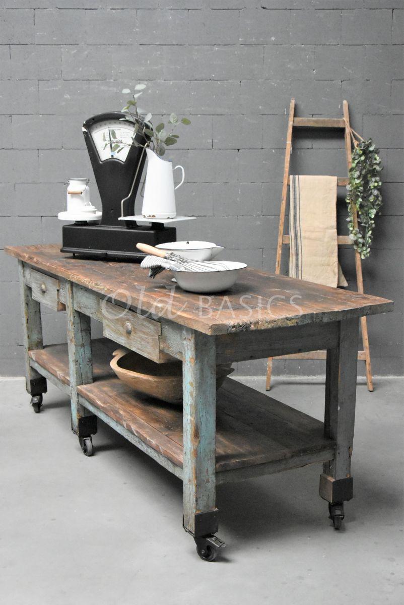 Werkbank, naturel, blauw, grijs, materiaal hout