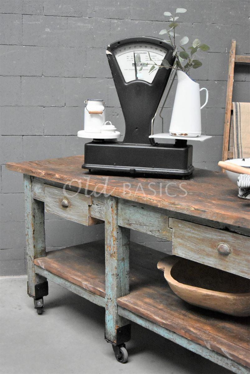 Detail van Werkbank, naturel, blauw, grijs, materiaal hout