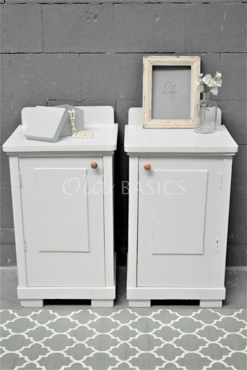 Detail van Set Nachtkastjes, grijs, wit, materiaal hout