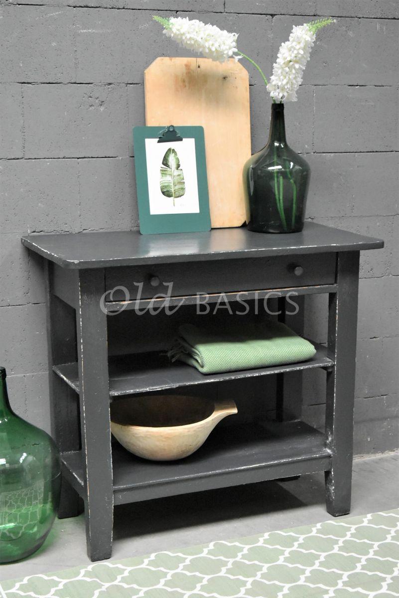 Bijzettafel, zwart, grijs, materiaal hout