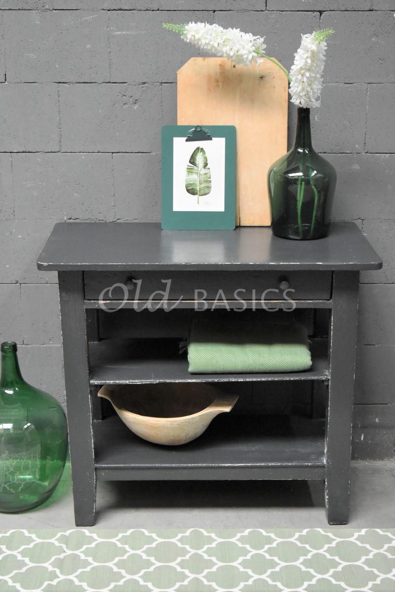 Detail van Bijzettafel, zwart, grijs, materiaal hout