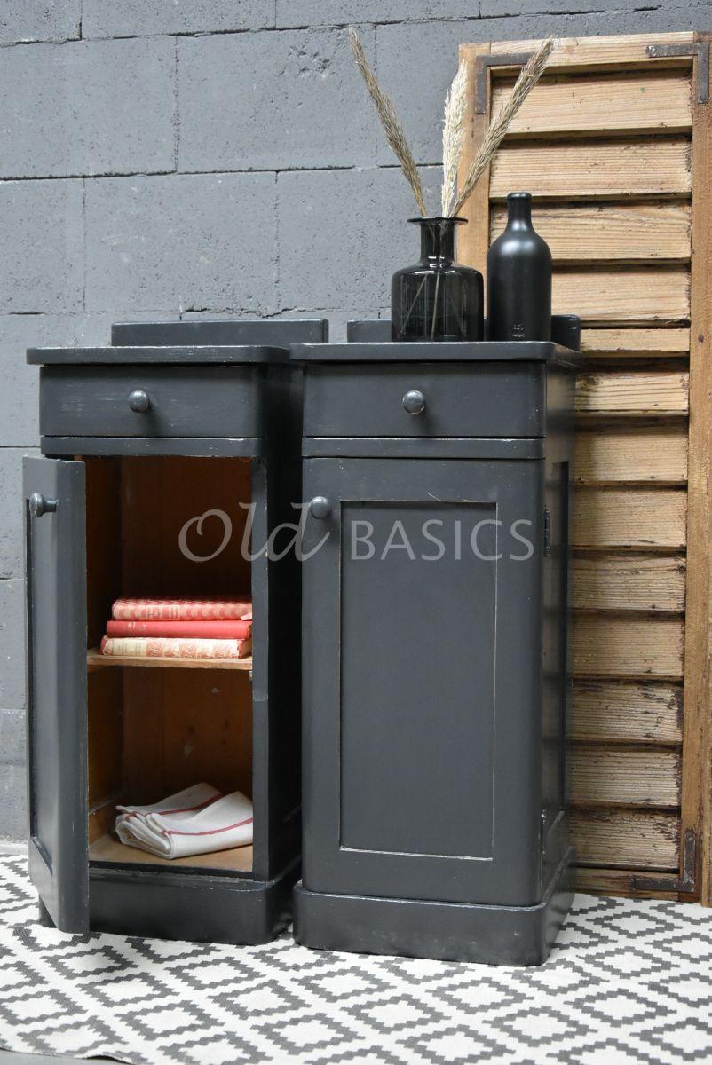 Detail van Set Nachtkastjes, zwart, grijs, materiaal hout