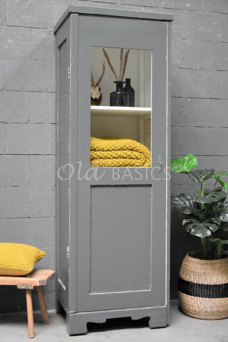 Vitrinekast, grijs, materiaal hout