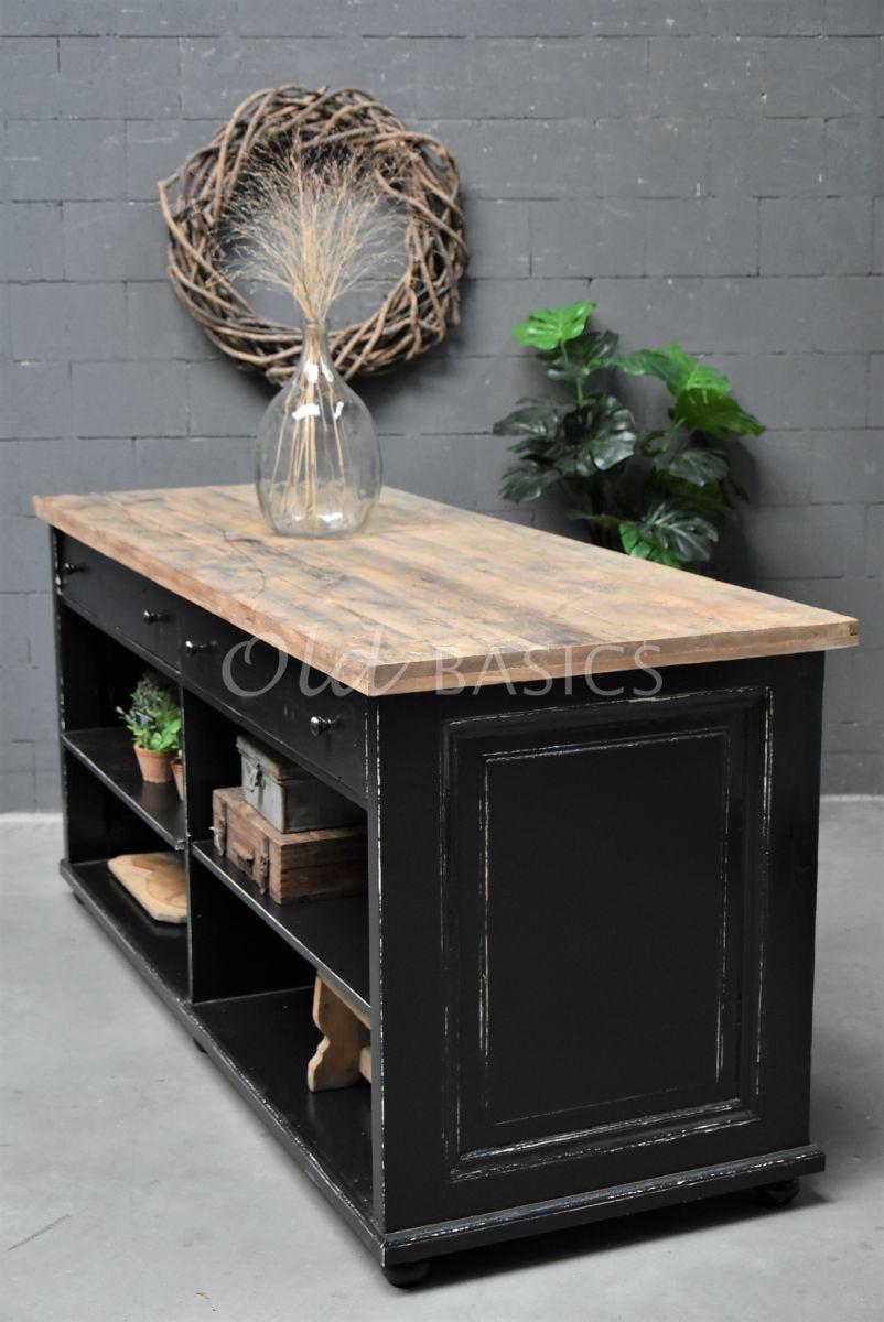 Toonbank, zwart, naturel, materiaal hout