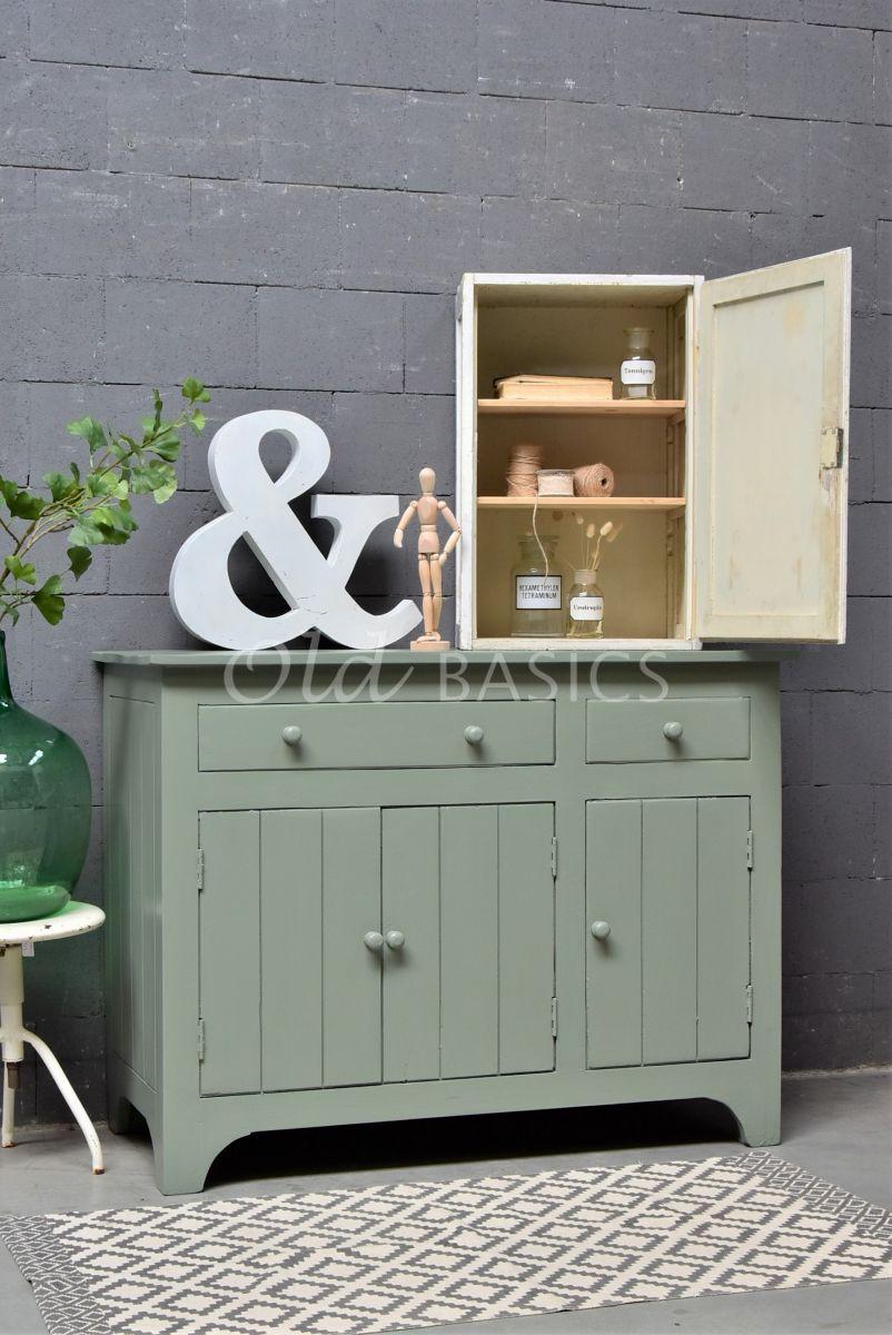 Commode, groen, grijs, materiaal hout
