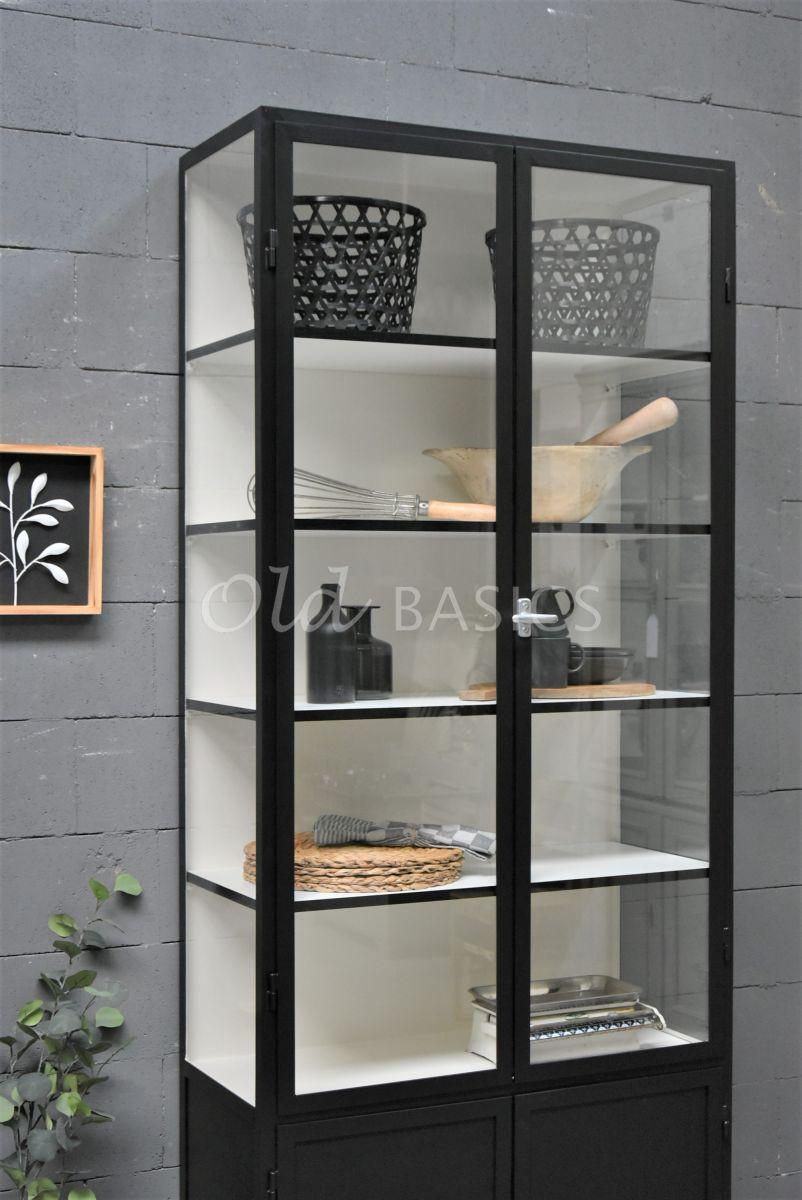 Detail van Apothekerskast Demi, 2 deuren, RAL9005, zwart, materiaal staal