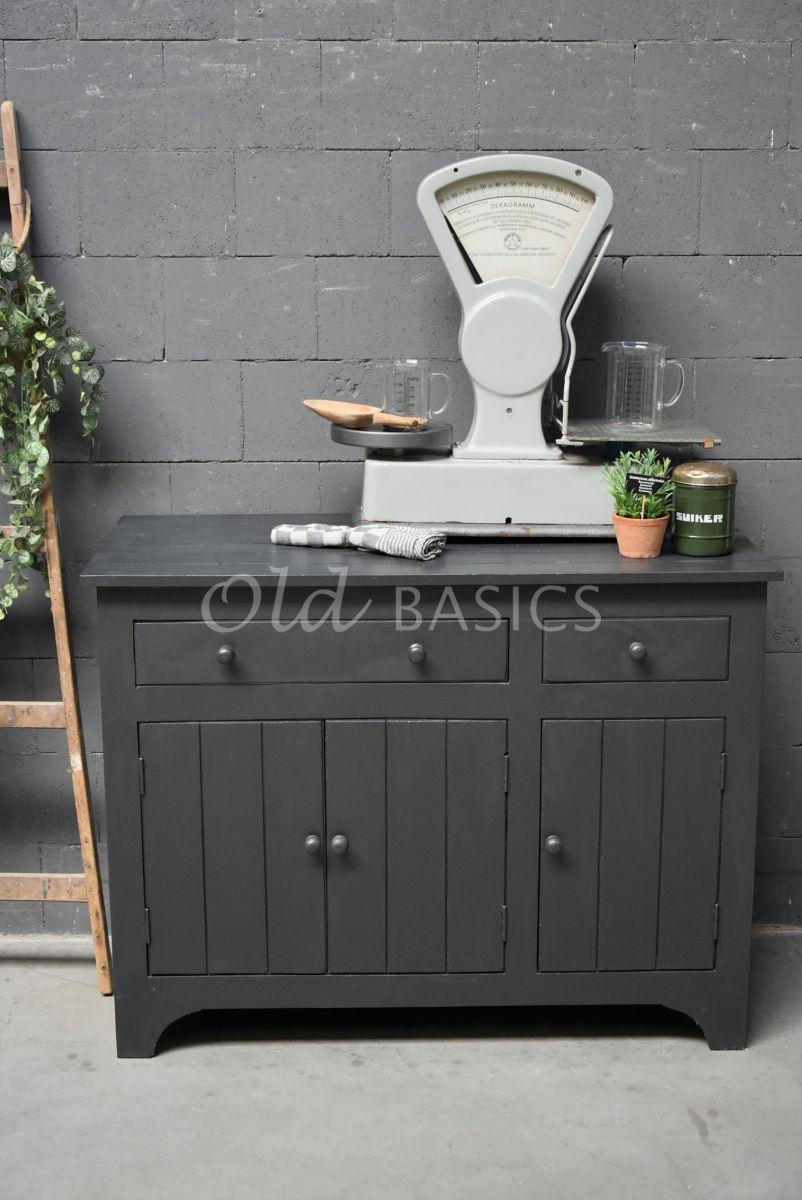Detail van Commode, zwart, grijs, materiaal hout