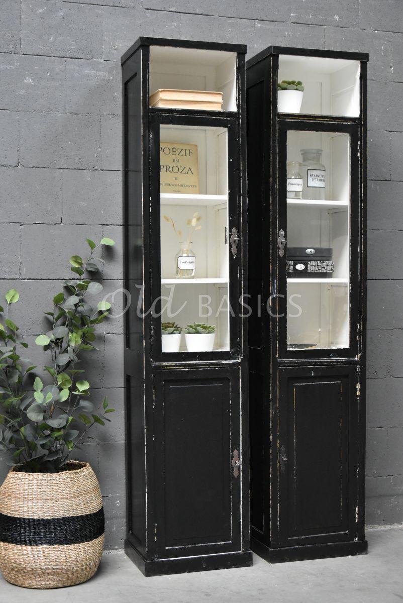 Vitrinekast  rechts, zwart, materiaal hout