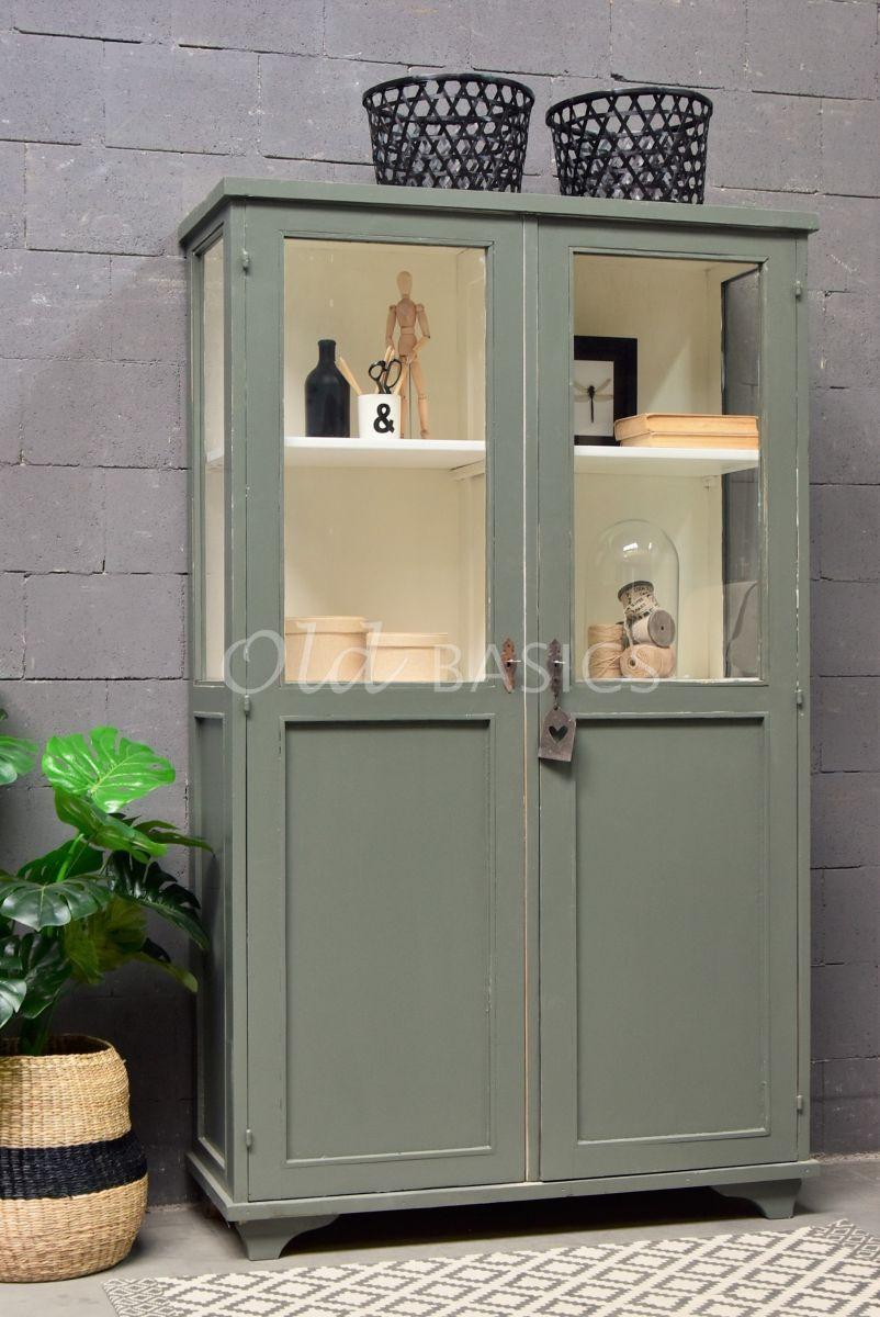 Vitrinekast, groen, materiaal hout