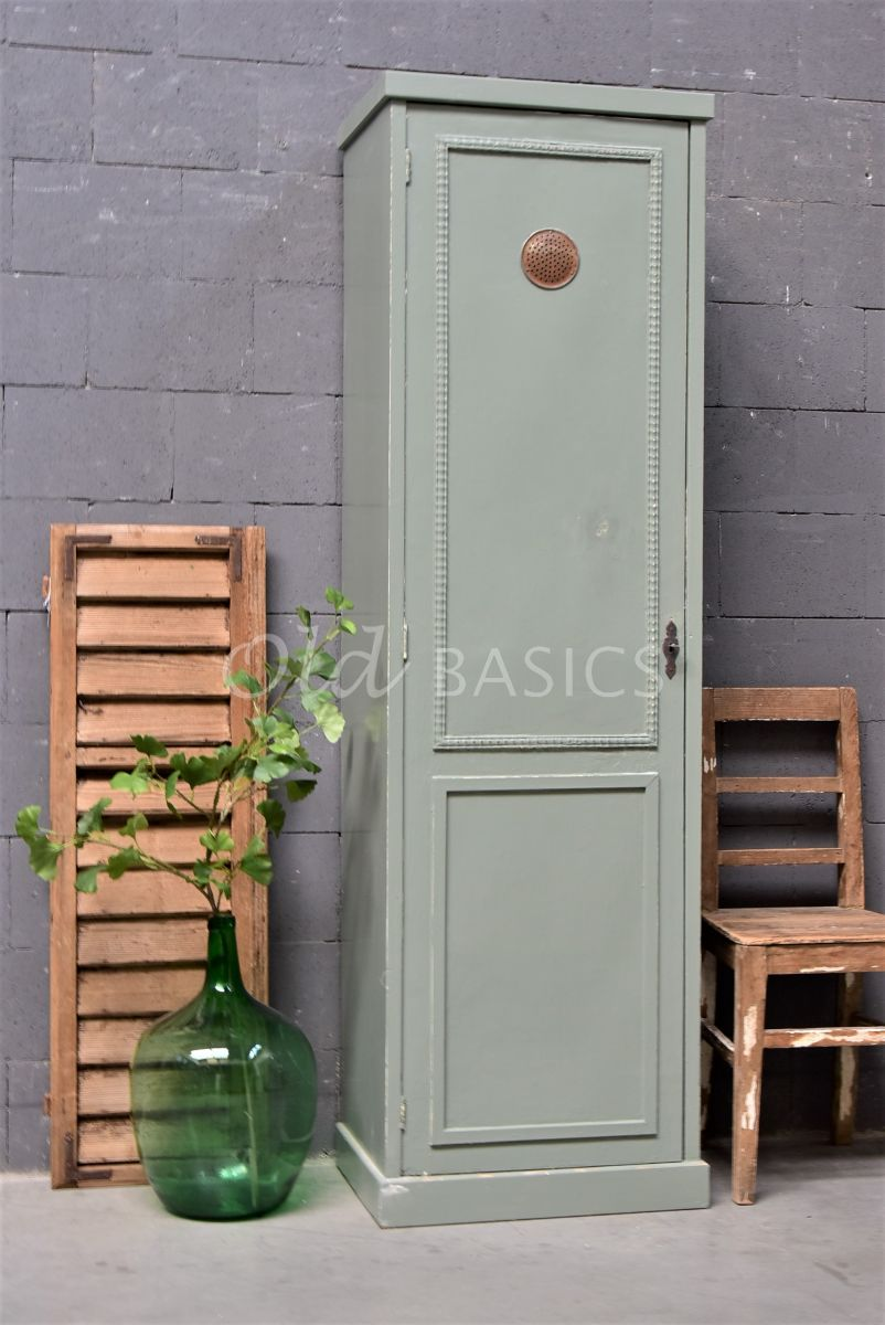 Smalle kast, groen, grijs, materiaal hout