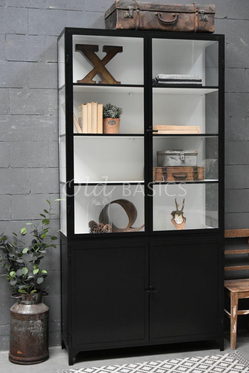 Apothekerskast Demi, 2 deuren, RAL9005, zwart, materiaal staal