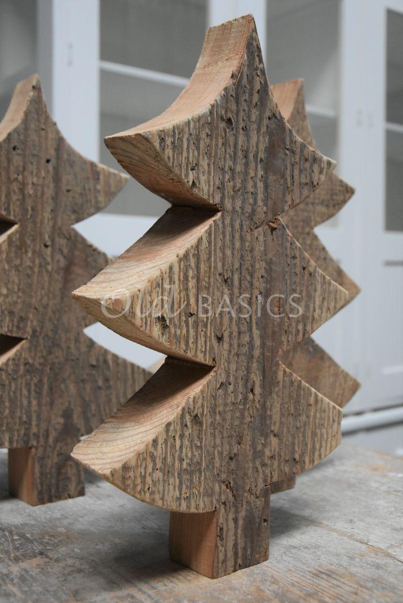 Detail van Houten kerstboom, naturel, materiaal hout