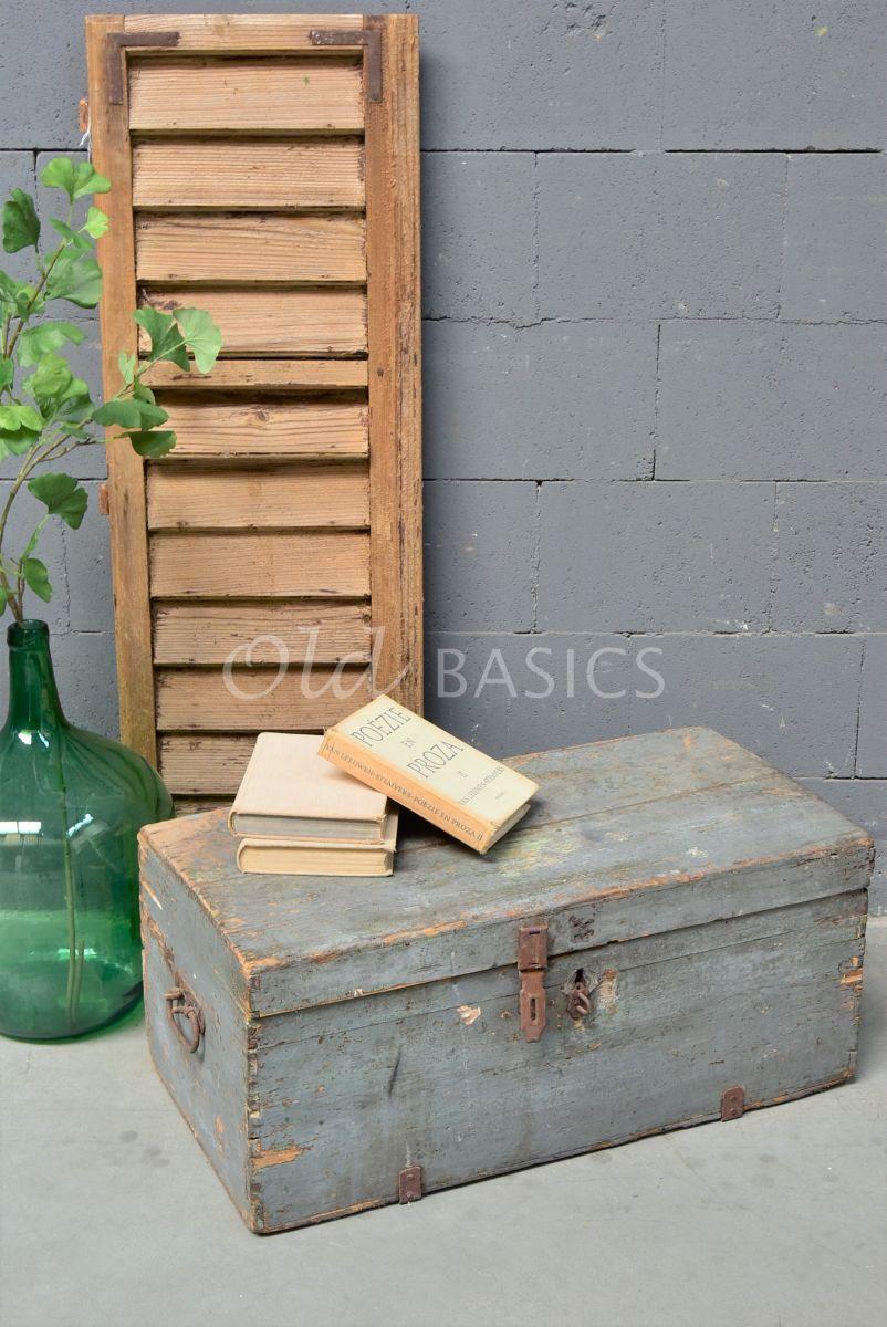 Houten kist, grijs, materiaal hout