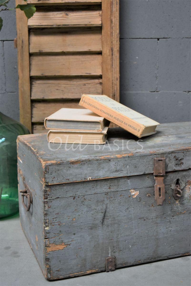Detail van Houten kist, grijs, materiaal hout