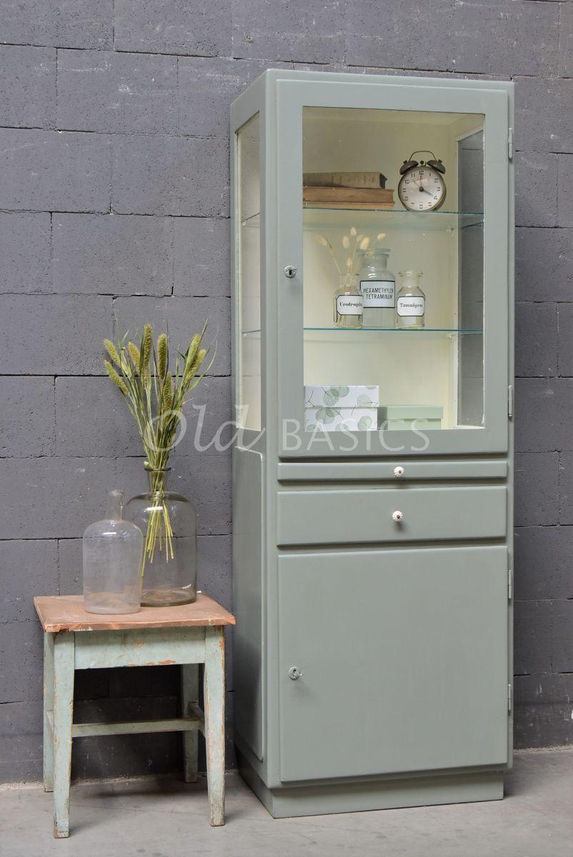 Apothekerskast, groen, grijs, materiaal hout