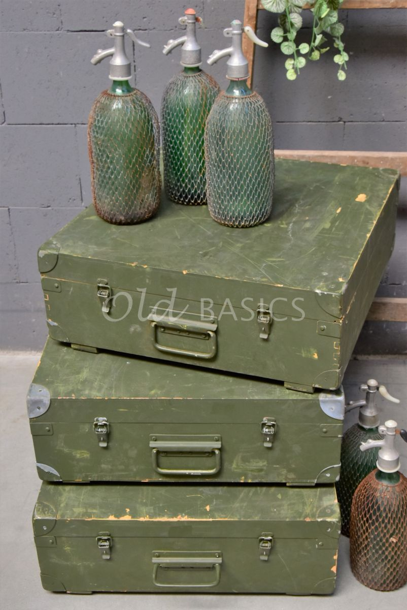Houten kist, groen, materiaal hout
