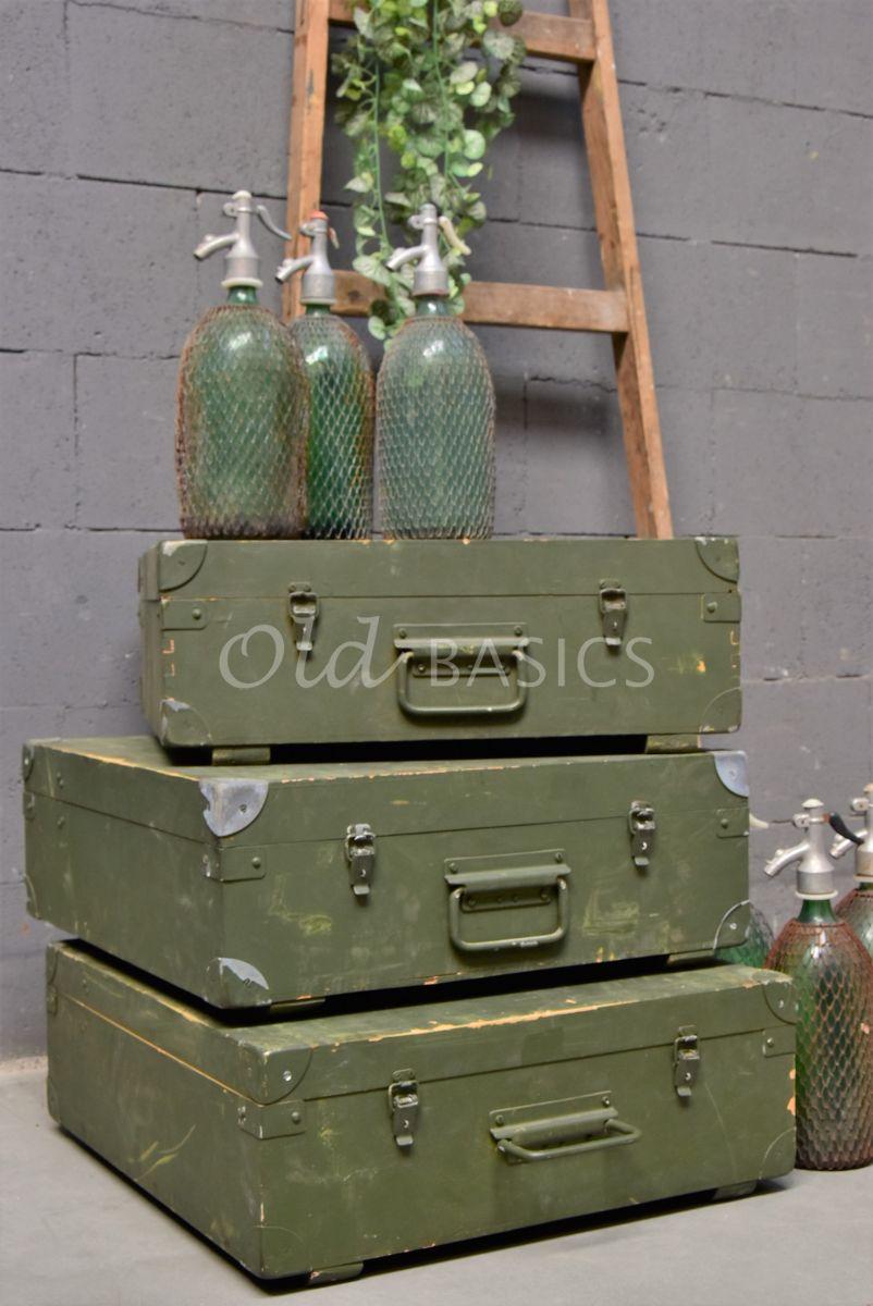 Detail van Houten kist, groen, materiaal hout